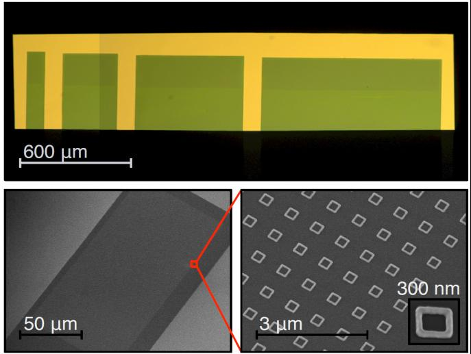 Sample used to measure flux-induced persistent currents in mesoscopic normal metal rings. Gold rings are placed on suspended cantilevers and their magnetic moment associated with the persistent currents is measured by torque magnetometry. Optical (top) and electron microscope (bottom) images of silicon cantilevers with arrays of gold rings on them. This technique enables us to measure persistent current with great precision (Jack Harris lab).